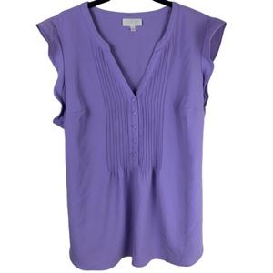 ModCloth lavender pleated flutter sleeve blouse